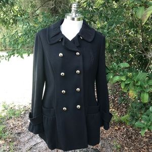 INC Black Double Breasted Button Up Coat Jacket
